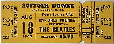Beatles - 1966 - Full & Unused Original Concert Ticket - Boston - Suffolk Downs