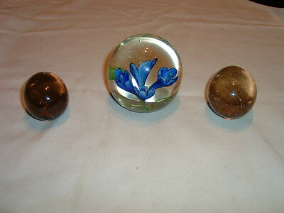 Glass Paperweight & 2 Glass Eggs