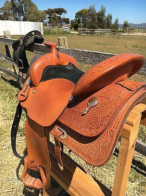 Western Show Saddle Billy Cook USA Incl Saddle Blanket, Reins And Set Of Rings