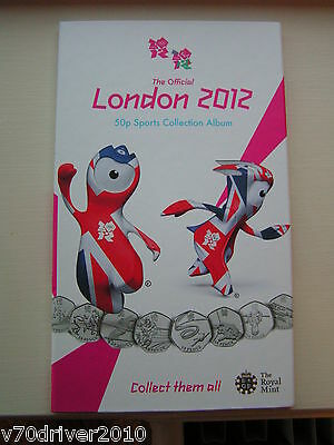 OFFICIAL Olympic 50p Sports Album Royal Mint Coin Folder Completer Medallion LR