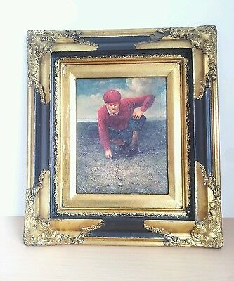 Oil painting of golfer  black  gold  frame on canvas  golf