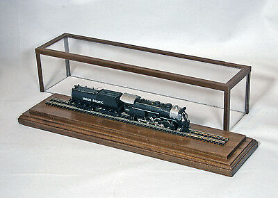 """N-Scale Covered Display Case in Walnut w/10"""" Track by Oak Hill Crafts"""