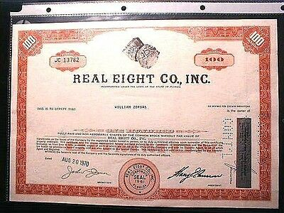 Real Eight Company 100 Shares Common Stock issued Aug 20, 1970 /  1715 Fleet