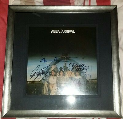 ABBA signed framed LP Arrival by all 4. Agnetha, Bjorn, Benny and Anni-Frid.