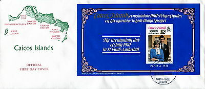 1981 Caicos Islands $2 Bend & Peel. Royal Wedding Prince Charles & Diana. FDC