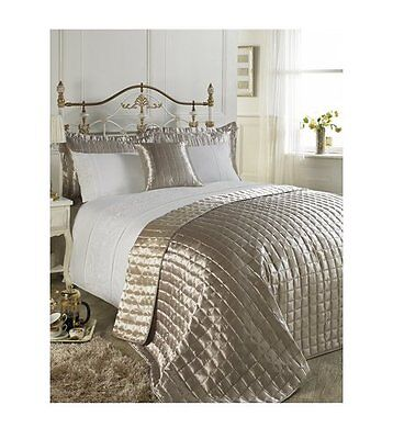 Champagne Gold Quilted Bedspread and Reversible Satin Pair Of Pillowshams SET