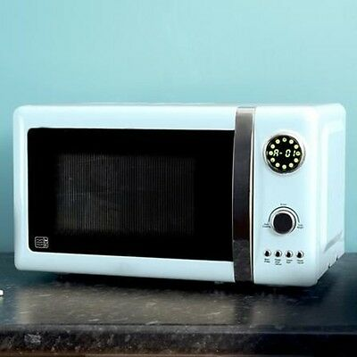 Retro Kitchen Digital Microwave Duck Egg Aid Vintage French Style Pastel Blue