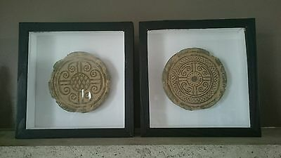 Terracotta Medallion Black Wooden Framed Shadow Box Wall Hangings.
