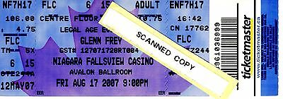 GLENN FREY of the EAGLES - 2007 CONCERT TICKET, NIAGARA FALLS - Complete, Unused