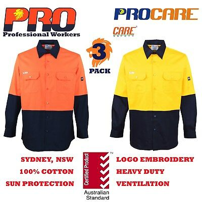 3 x Hi Vis Work Shirt vented cotton drill long sleeve SAFETY WORKWEAR UNIFORM