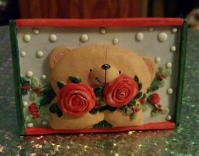 Forever Friends Vintage Ceramic Plaque Magnet - Snow Bear with Holly and Roses