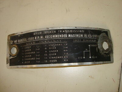 Ford 600 800 900 2000 4000 Tractor Over/Under Sherman Transmission Plate Tag