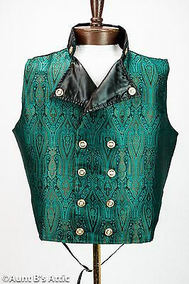 Steampunk Vest Jade Green & Black Brocade Double Breasted Victorian Vest