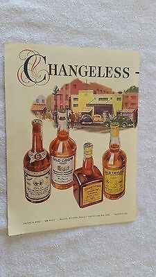 1942 Old Crow Old Overholt Old Taylor Mount Vernon Rye Whiskey 2 Page Color Ad