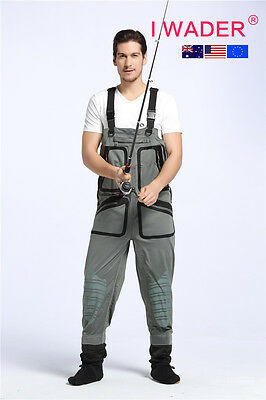 IWADER 5P SUPER STRETCH BREATHABLE waterproof fishing waders free shipping