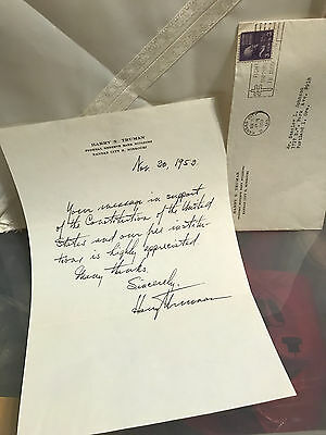 1953 Harry Truman Hand Written Signed Autographed Letter W/ Mailing Envelope
