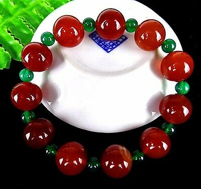 New 1Strip Handwork Weaving Red Agate Elasticity Hand Catenary 14mm AT16372