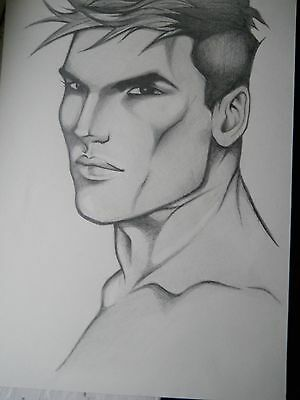 MALE PORTRAIT DRAWING......gay interest... 9 X 12 INCHES PENCIL