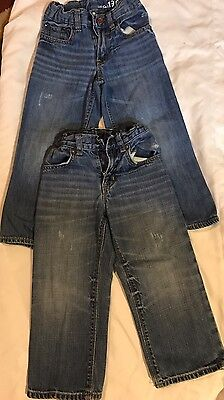 Lot Of 2 Baby Gap Toddler Boy Jeans, 4T, Medium Wash, Straight Or Loose