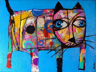 Cat Abstract Outsider Art  Painting on Canvas Original     FREE SHIPPING !