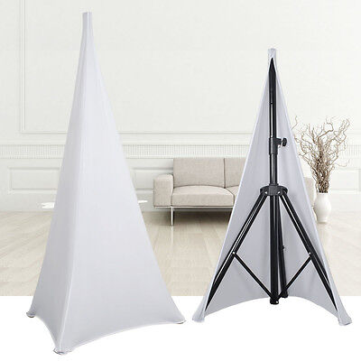 2PCS Tripod Speaker Stands Scrim Spandex Lycra Double Sided White Stretch Cover