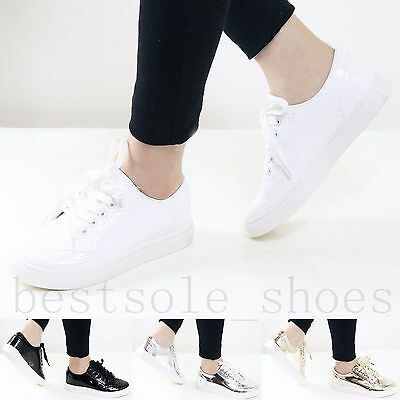 Women Ladies Lace Up Flats Loafers Trainers Patent Pu Plimsolls Pumps Shoes Size