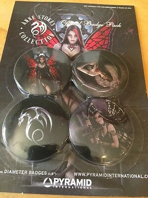 Gothic Goth Anne Stokes Fairy Badge Set4