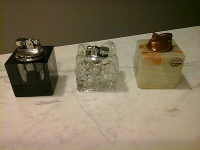 Vintage  Glass Lighters  square,  Onyx Evans, Ice Cube glass, Green Colibri.