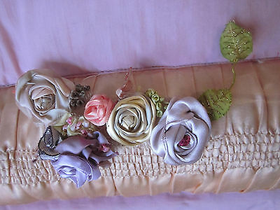 """Antique Vintage Silk Ribbon Work With French Leaves 7""""l Stamens +Roses Beautiful"""