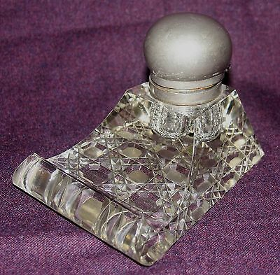 Vintage Cut Glass Inkwell