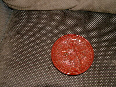 Beautiful Vintage/antique Chinese Red Carved Lacquer Flower Plate