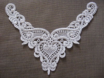 12 Pcs Gorgeous White Heart Rayon Venise Yoke Applique