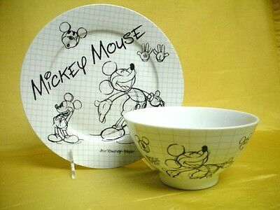 Disney Sketch Book Childs Plate & Bowl Mickey Mouse Porcelain China Mint