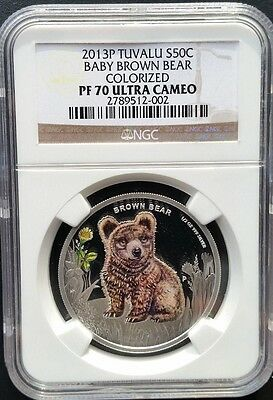 2013 1/2 oz Proof Colorized Silver Forest Babies - Baby Brown Bear