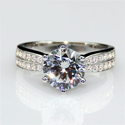 2ct Diamond White Gold Solitaire Engagement Ring Size N.5 Solid 9k White Gold UK