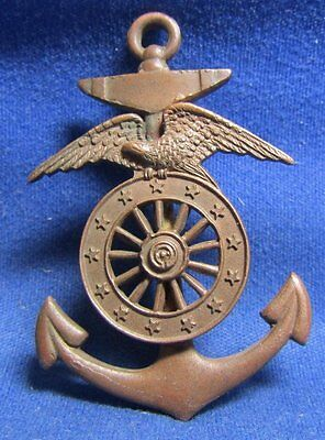 WWI Army or Navy Harbor Boat Service Hat Badge EXTREMELY RARE