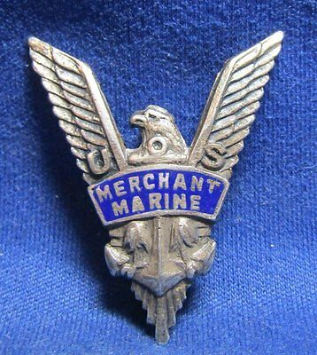 WWII Sterling Merchant Marine V For Victory Wings Badge GREAT SHAPE