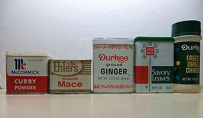 4-Vintage Spice Tins -Ehlers, McCormick, Ann Page, Durkee & 1-plastic contanier