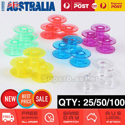 Empty Coloured Plastic Bobbins for Sewing Machines Janome Brother Elna Singer AU