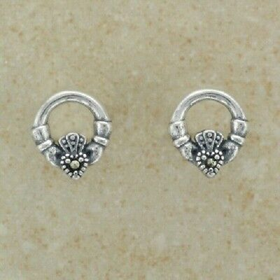 Irish Celtic Sterling Silver Claddagh Marcasite Earrings