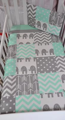 New Handmade 3pc Mint & Grey Elephant Patchwork Cot bedding Set - Very Cute.