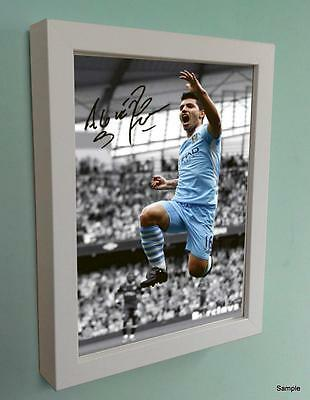12x8 White Signed Autographed Manchester City Photo Picture Frame Aguero Print