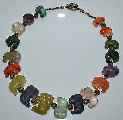 Antique Chinese Carved Elephant Bead Necklace Coral Lapis Turquoise Jade Agate
