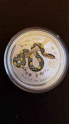 Australian Lunar 2013 - 1 oz Silver - Year of the Snake - COLOR Perth .999 FINE