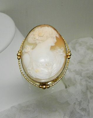 Shell Cameo Lady Gold Filled Pin w/ Swing Hinge For Pendant Frame Signed K.S.CO.