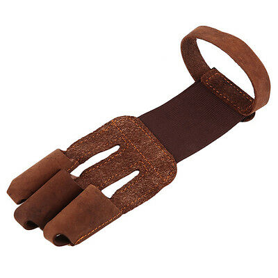 Archery Conservator Gloves 3 Fingers Pull Drag Bow Arrow Leather Gloves Tackle