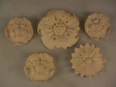 Set of 5 Small Decorative Plaster Medallions Wall Hanging Pediments French Style