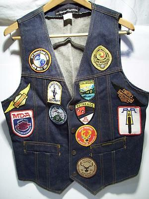 NOS Vtg AMF HARLEY DAVIDSON Denim BLUE JEAN VEST w/PATCHES from the 60's to 80's