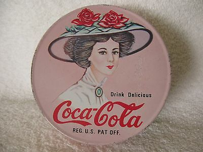 Vintage Coca Cola Pink Round Smoker's Candle Tin Can Lady with Hat w Red Roses