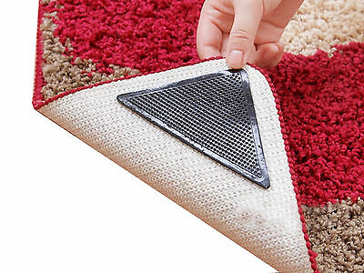 8pc Ruggies Rug Carpets Grippers Holders Washable Non Slip Grip Corners Hold